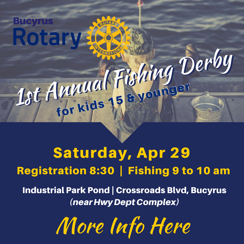1st annual fishing derby bucyrus area chamber of commerce for Ohio one day fishing license