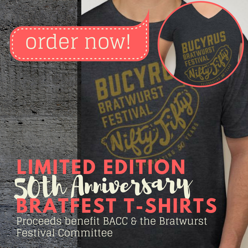 50th Anniversary Commemorative Bratwurst Festival T-Shirts